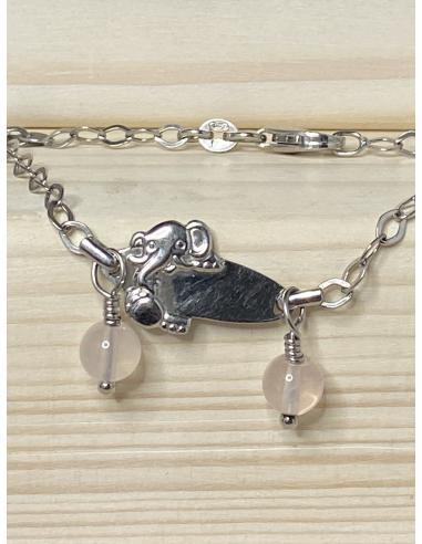 Bracelet identite éléphant quartz...