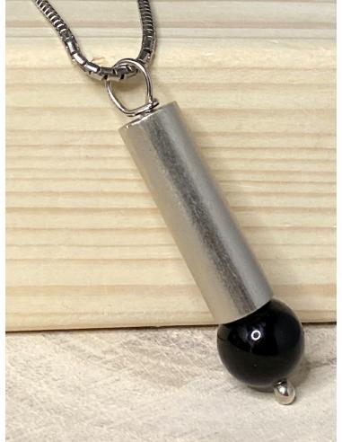 Collier argent tube et agate noire...