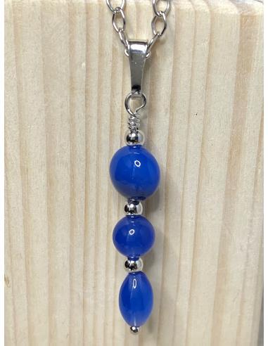 Collier artisanal argent et agate bleue