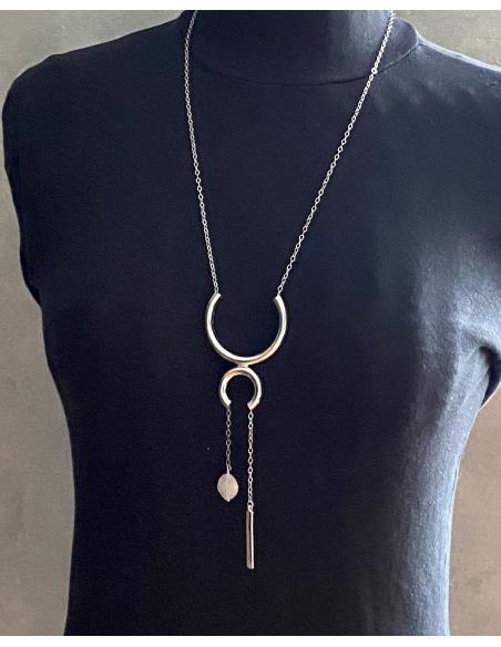 Bijoux tendance sautoir argent et quartz rose