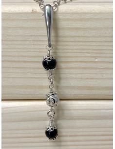 collier classique argent massif agate noire fait main