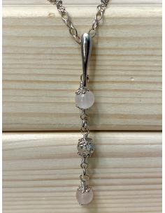Collier classique bijoux argent massif et quartz rose
