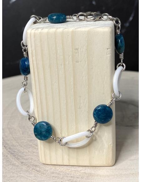 bracelet argent artisanal céramique et apatite