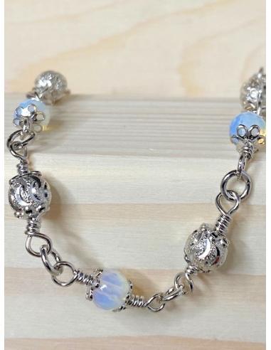Bracelet créateur argent et opaline...