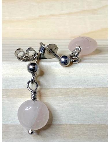 Boucle d'oreille argent et quartz rose