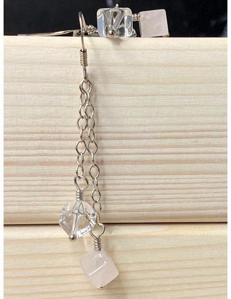 Bijoux artisanaux faits main en ligne, créations en argent avec pierres naturelles cristal de roche et quartz rose.