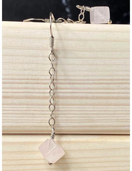 Boucle d'oreille artisanale en argent et pierres fines quartz rose