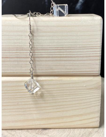 boucle d'oreille pendante argent rhodié avec pierre fine naturelle cristal de roche