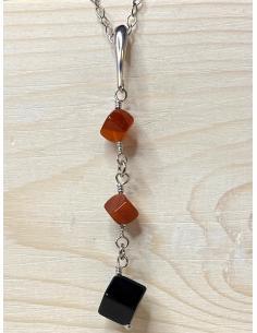 Bijou artisanal en argent rhodie avec mineraux pour femme vendu en ligne ou dans notre bijouterie de Ramillies