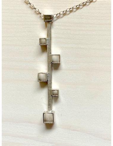 Collier argent tubes carrés