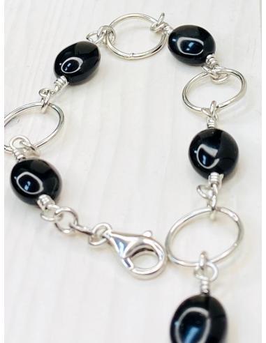 Bracelet argent VERO agate noire