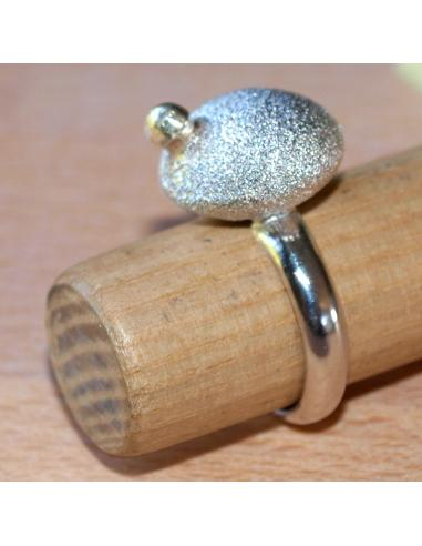 Bague sphère argent et perle or