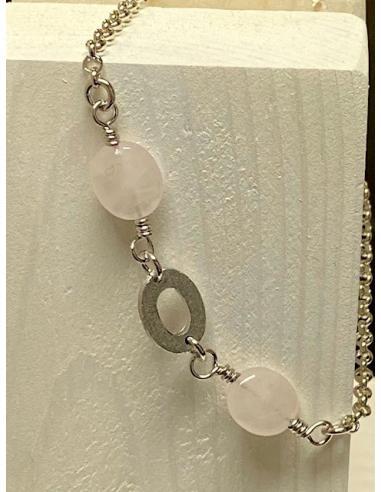 Bracelet argent motif ovale et quartz...