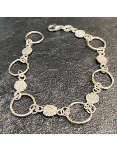 Bracelet artisanal argent anneaux et...
