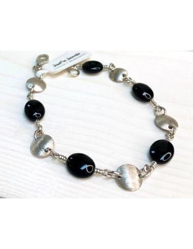 Bracelet argent AUGUSTINE agate noire