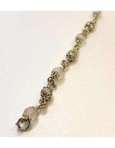 Bracelet argent ALEXIANE et quartz rose