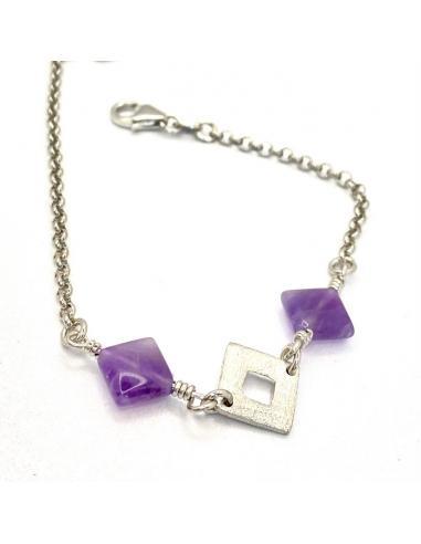 Bracelet artisanal losanges argent et...