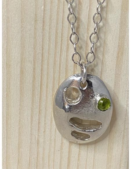 création fait main collier femme argent et pierre fine naturelle peridot