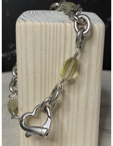 Bracelet argent rhodié et quartz citron