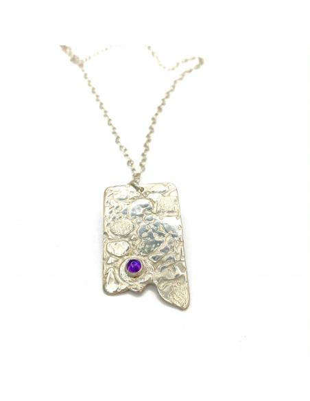 Collier artisanal belge pour femme en argent rhodié antiallergique et pierre fine amethyste sertie