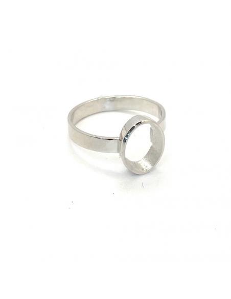 Bague artisanale argent rhodié collection ophelie anneau ovale