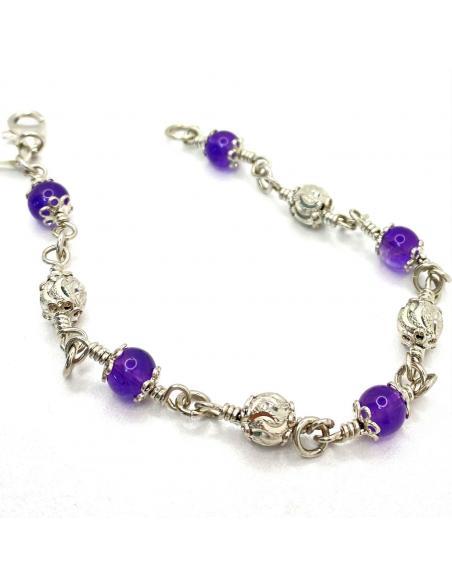 bracelet argent artisanal et pierre fines naturelles améthyste pour femme