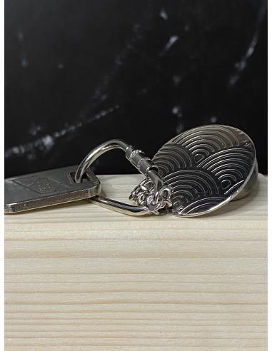 Porte-clés rond argent rhodié made in...