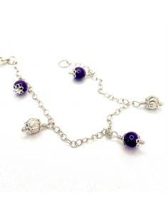 Bracelet artisanal fait main argent rhodié nickelfree pour femme avec pierre fine améthyste