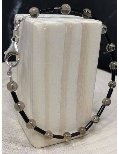 Bracelet artisanal argent quartz fumé...