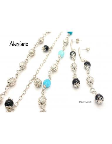 Bracelet argent ALEXIANE et malachite