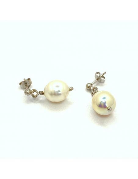 Bijou artisanal argent rhodié et perle naturelle boucle d'oreille collection paula