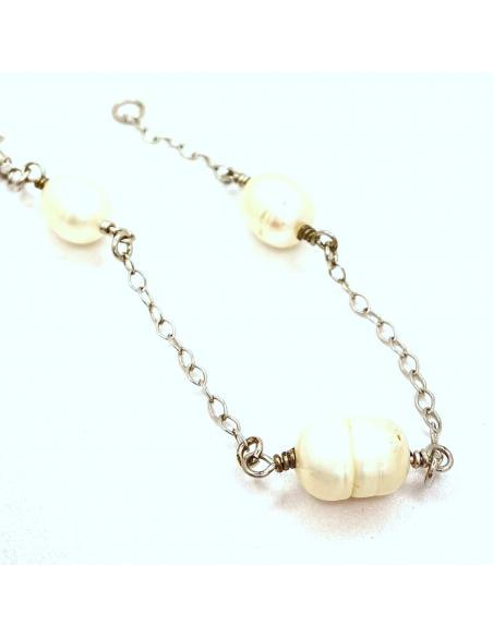 Bracelet fait main en argent et perles naturelles , bijou disponible dans notre bijouterie de Ramillies ou via notre e-shop.