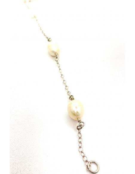 bracelet argent avec 3 perles naturelles, bijou artisanal fait main dans notre atelier bijouterie à Ramillies