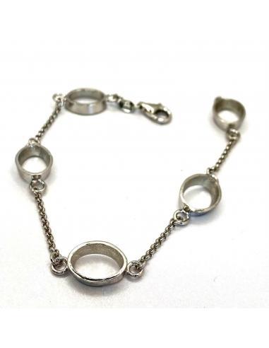 Bracelet argent 5 motifs ovales Ophélie