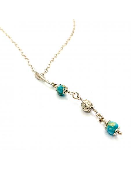 Collier artisanal argent et hémimorphite vendu dans notre e-shop our dans notre bijouterie de Ramillies
