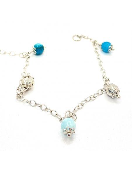 Bracelet artisanal argent et pierres fines, hémimorphite, vendu dans notre e-shop et notre bijouterie de Ramillies