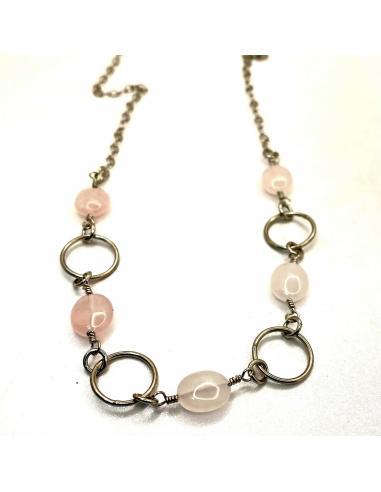 Collier artisanal pour femme avec pierres naturelles, quartz rose, argent rhodié antiallergique