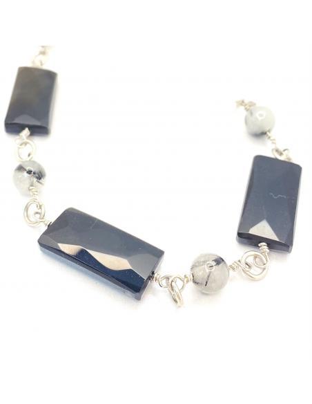 Bracelet argent rhodié fait-main alternant du quartz à tourmaline avec agate noire