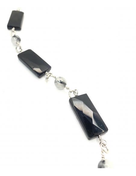 Bracelet artisanal argent rhodié et pierres fines quartz à tourmaline et agate noire