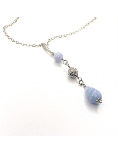 Collier femme argent rhodié antiallergique pierre fine agate blue lace collection manon