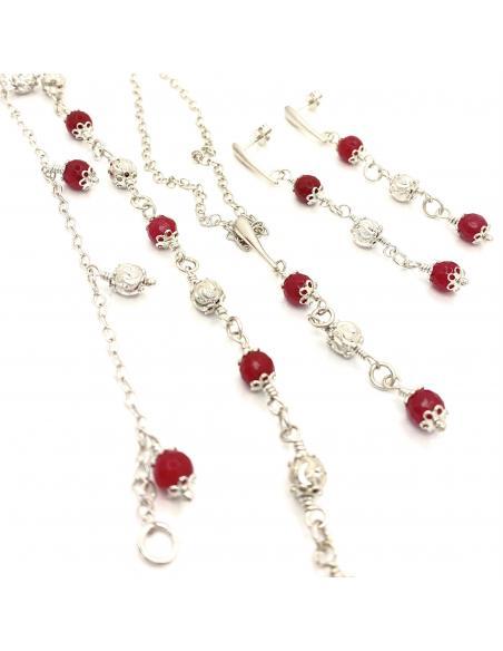 parure bijoux artisanaux pierres naturelles argent rhodié pour femme