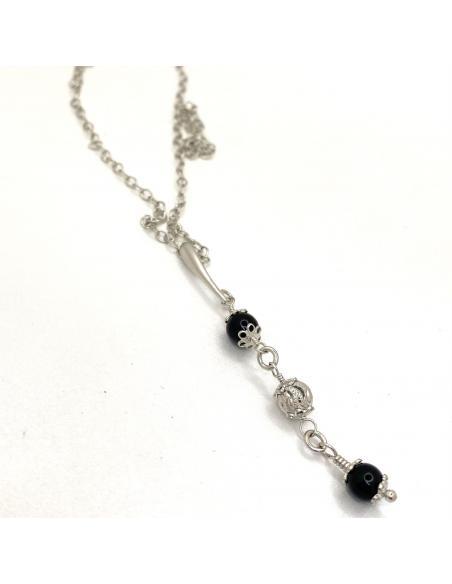 Bijoux artisanaux avec pierres fines naturelles en argent rhodié antiallergique agate noire