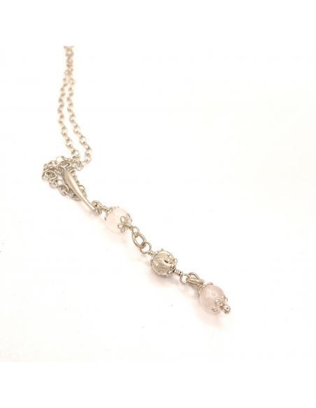 Bijou de créateur pour femmes collier argent rhodié nickelfree et pierre fine quartz rose