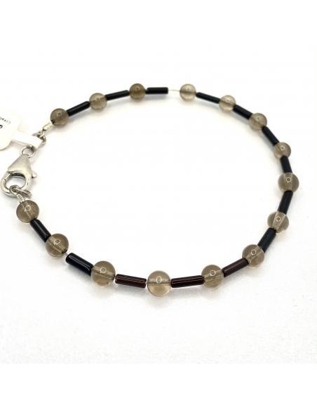 Bracelet pour homme argent rhodié pierres fines agate noire et quartz fumé