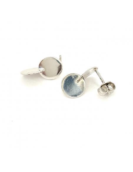 Boucle d'oreille artisanale disques argent rhodiés pour femme