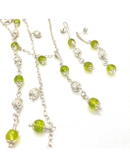parure bijoux pour femme argent rhodié antiallergique pierre fine peridot