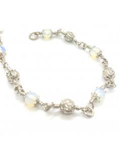 Bijou de créateur belge en argent rhodié nickelfree et verre opalin bracelet pour femme
