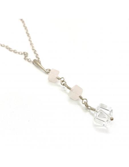 collier argent rhodié artisanal pierres fines naturelles quartz rose et cristal