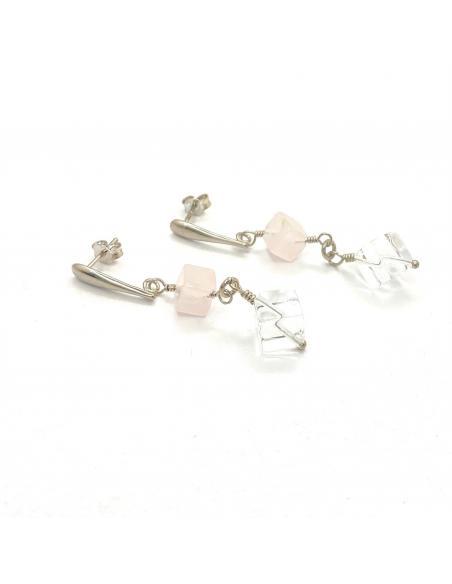 Boucle d'oreille artisanale argent rhodié pierre fine quartz rose et cristal