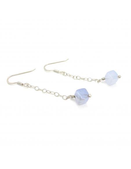 Boucle d'oreille de créateur pour femme argent nickelfree et pierre fine calcédoine bleue